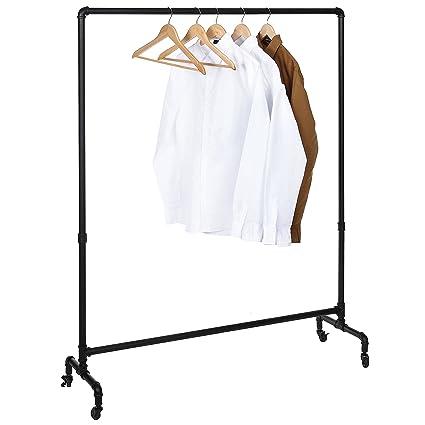 Amazon Industrial Style Matte Black Metal Pipe Design Rolling Stunning Coat Hanger Rack