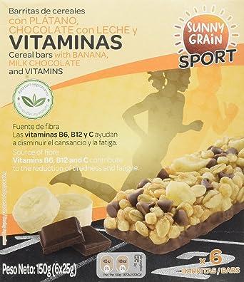 Sunny Grain Sport Barrita Energética con Plátano y Chocolate con Leche - Paquete de 12 x