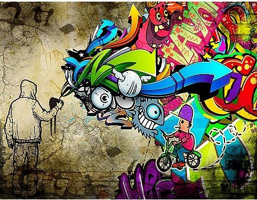 Tapisserie Photo Graffiti 352 X 250 Cm Laine Papier Peint Salon Chambre Bureau Couloir Décoration Peinture Murale Décor Mural Moderne 100 Fabriqué