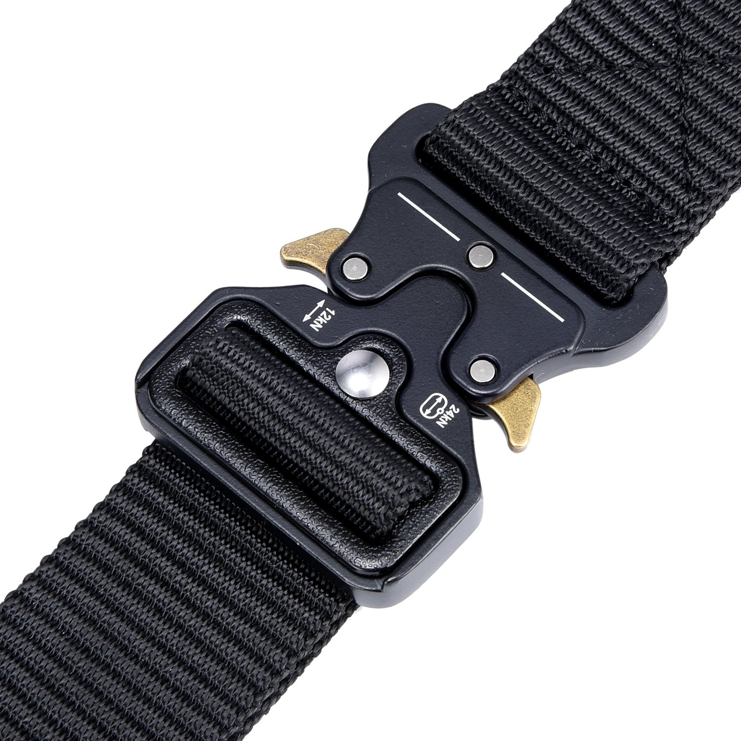 Military Tactical Belt,Quick Release Buckle, Long 43''-55'' Wide1.5'',Heavy Duty Waist Belt (Black, 47 inch) by MarkPorda (Image #4)
