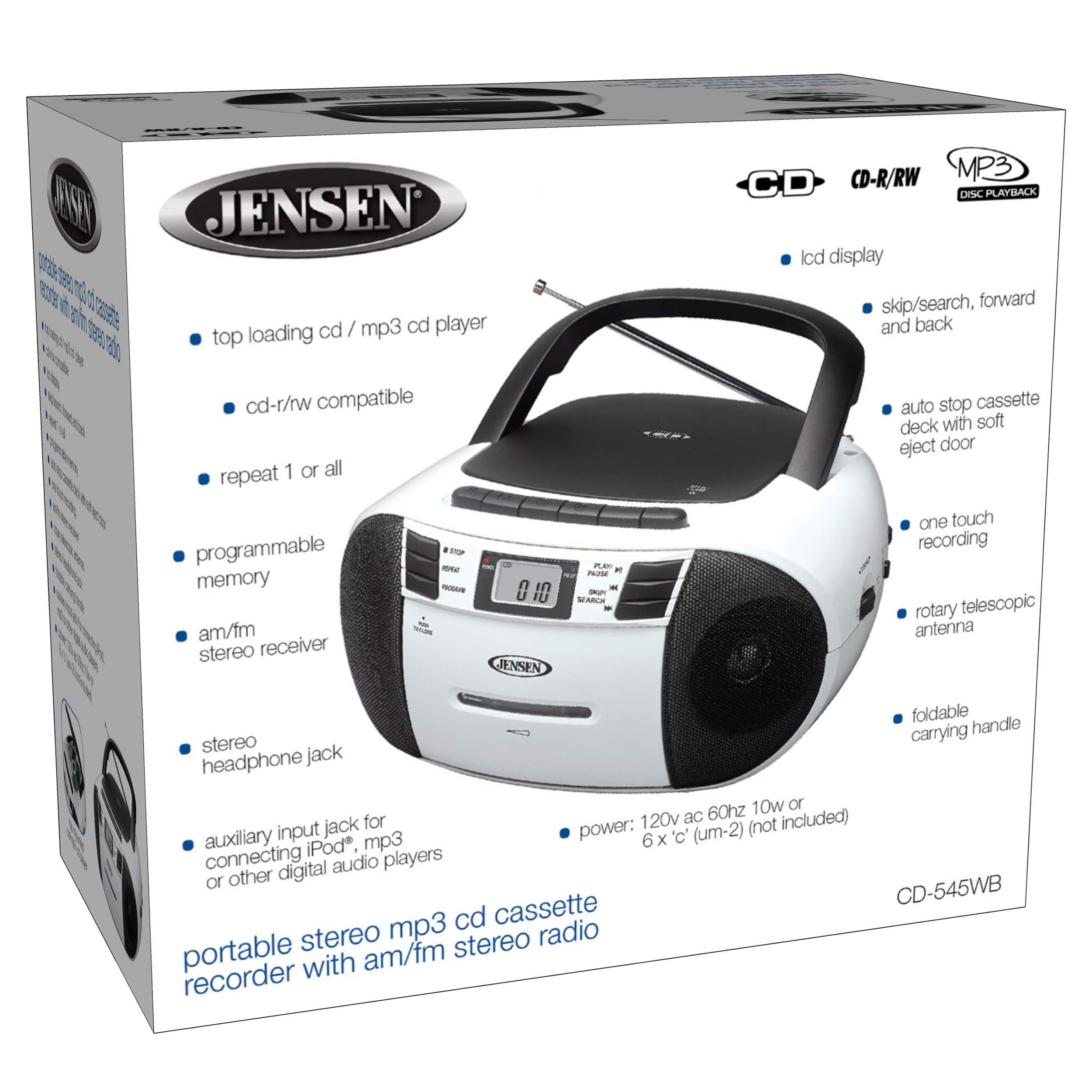 Jensen CD-545MP3 Black/White Top-Loading CD/MP3 AM/FM Radio Cassette Player, and Recorder Boombox Home Audio, Aux, Headphone (Black/Matte White) by Jensen (Image #5)