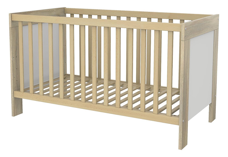 Wellemöbel Matilde, Kinderbett, 2 Gitterbettseiten, 61455298 Wildeiche Struktur / Alpinweiß