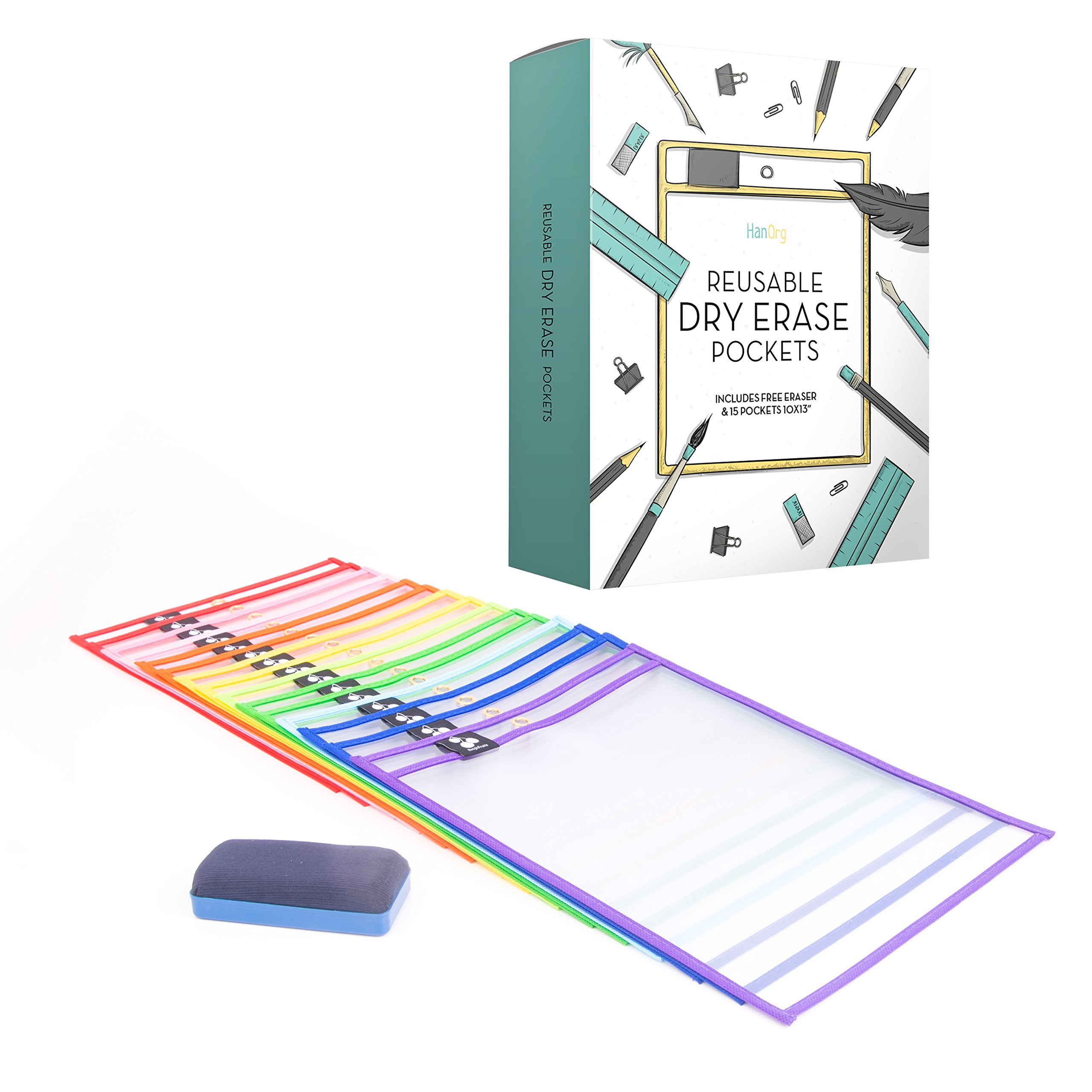 Premium Dry Erase Pockets - 10'' x 13'' Oversized Reusable Document Sleeves - Many Different Colors - Top Quality Supplies For Your Office, School, Classroom, Children & More (Pack of 15)