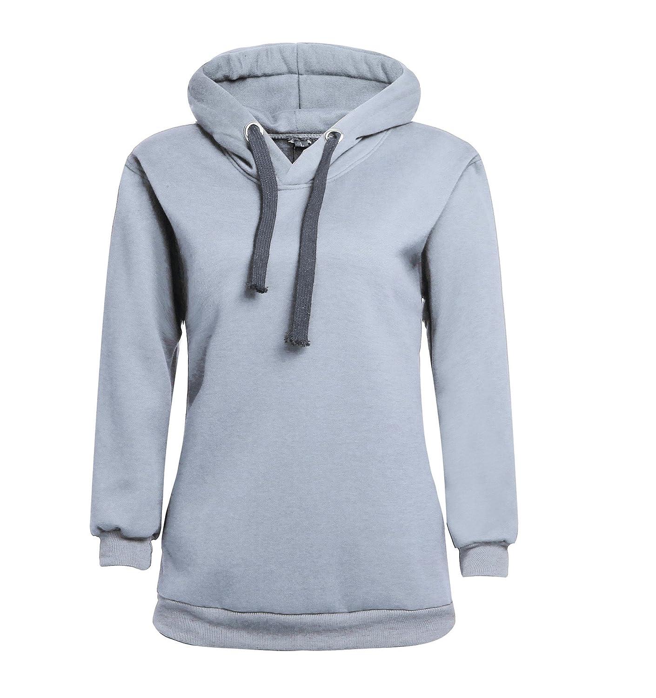 AalarDom Women Cotton Midweight Casual Hoodies Long Sleeve Drawstring Plain Sweatshirt