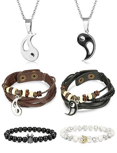 4c32bc0f47 Amazon.com: Finrezio 6 PCS Yin & Yang Leather Bracelets and ...