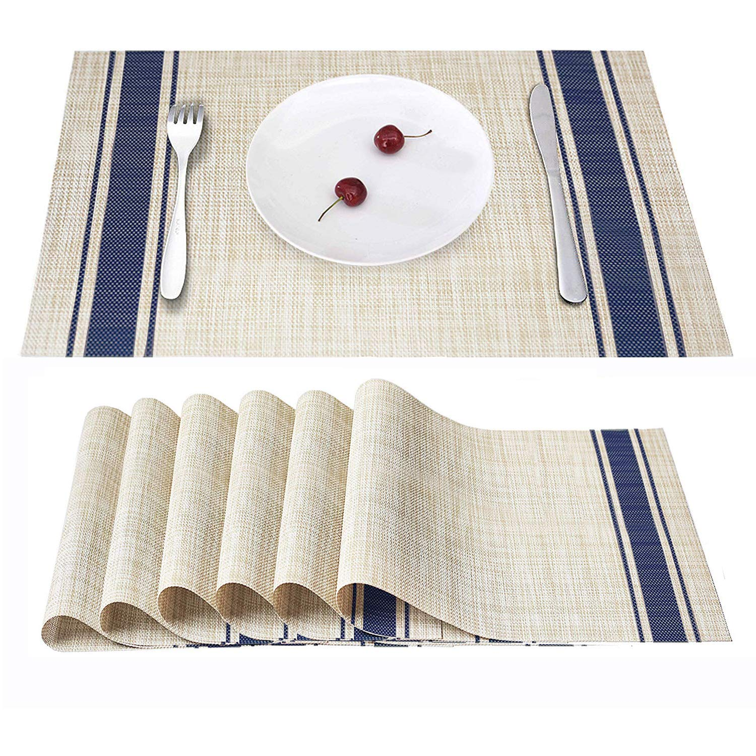 45 x 30 CM blanc r/ésistants /à la Chaleur Napperons en PVC pour la Maison et la Cuisine Smeala Set de Table Lot de 6 Sets de Table Lavables et antid/érapants en Vinyle