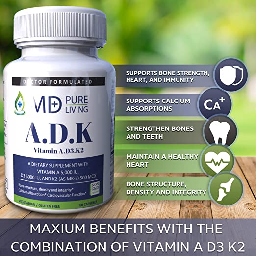 Amazon.com: ADK Supplement - Dr. Formulated High Potency Vitamin ADK [A 5000iu, D3 5000iu, K2-MK7 500mcg] for Heart, Bone, and Vision Suppport - Purest ...