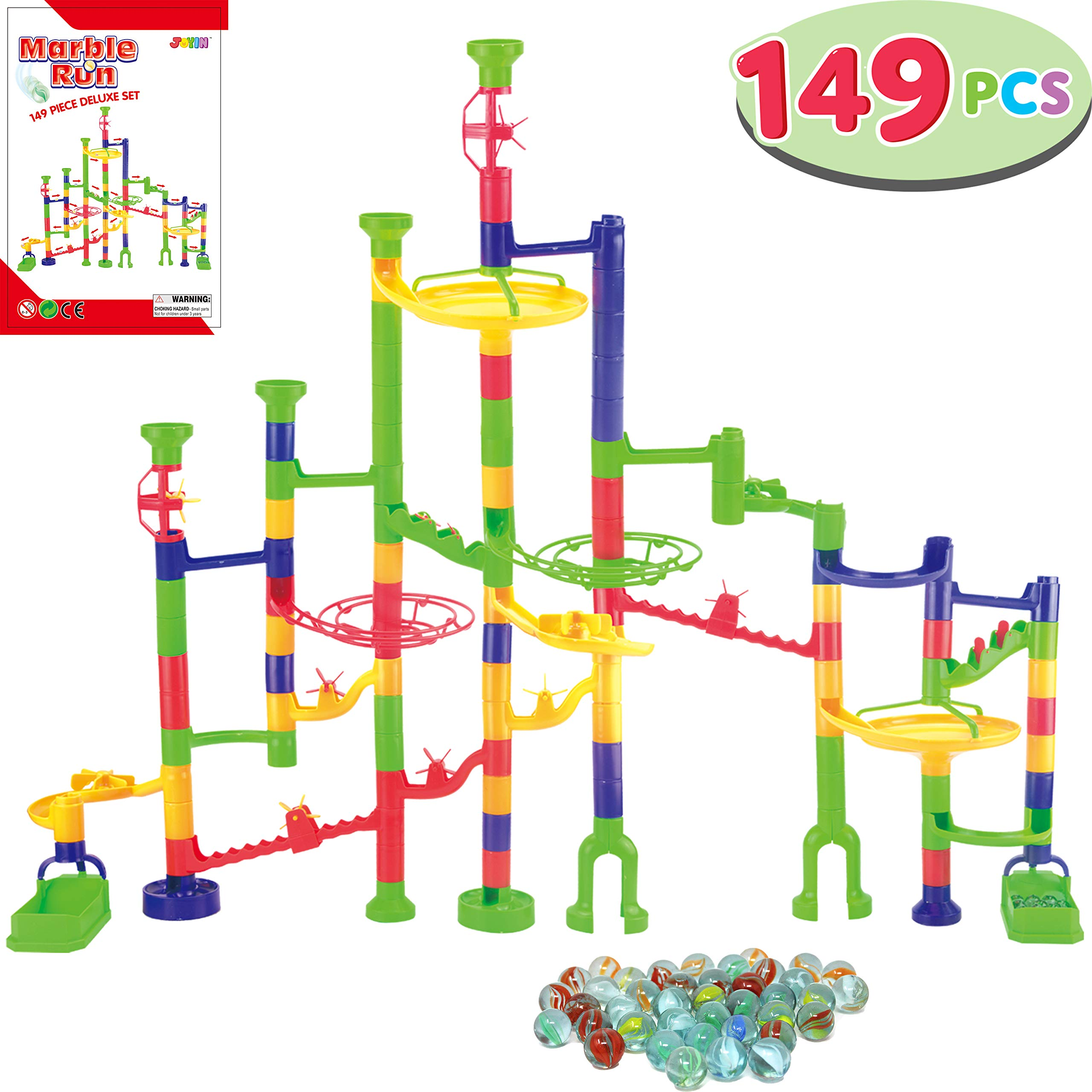 JOYIN 149 Pcs Marble Run Premium Set, Construction Building Blocks Toys, STEM Learning Toy, Educational Building Block Toy(109 Solid-Colors Plastic Pieces + 40 Glass Marbles)