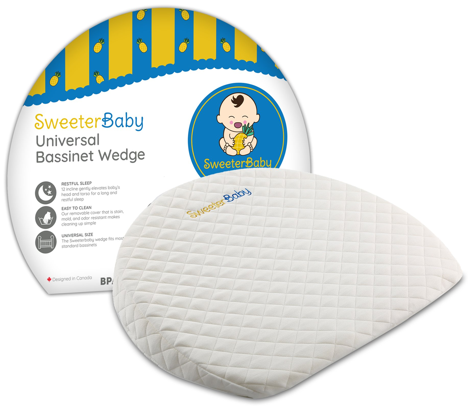 Bassinet Wedge, Baby Pillow for Reflux and Congestion Relief, Baby Wedge by Sweeterbaby
