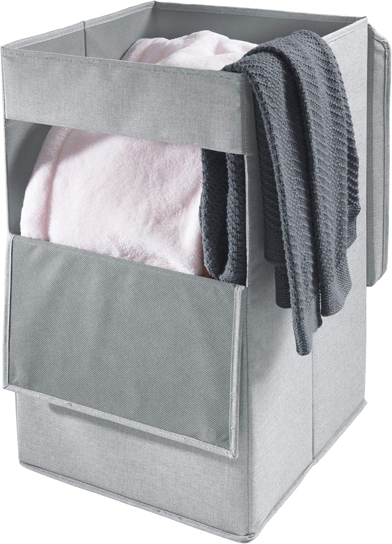 iDesign Codi Cesta para Ropa con Asas 31,8 cm x 35,6 cm x 55,9 cm Caja con Tapa Grande de poli/éster Gris