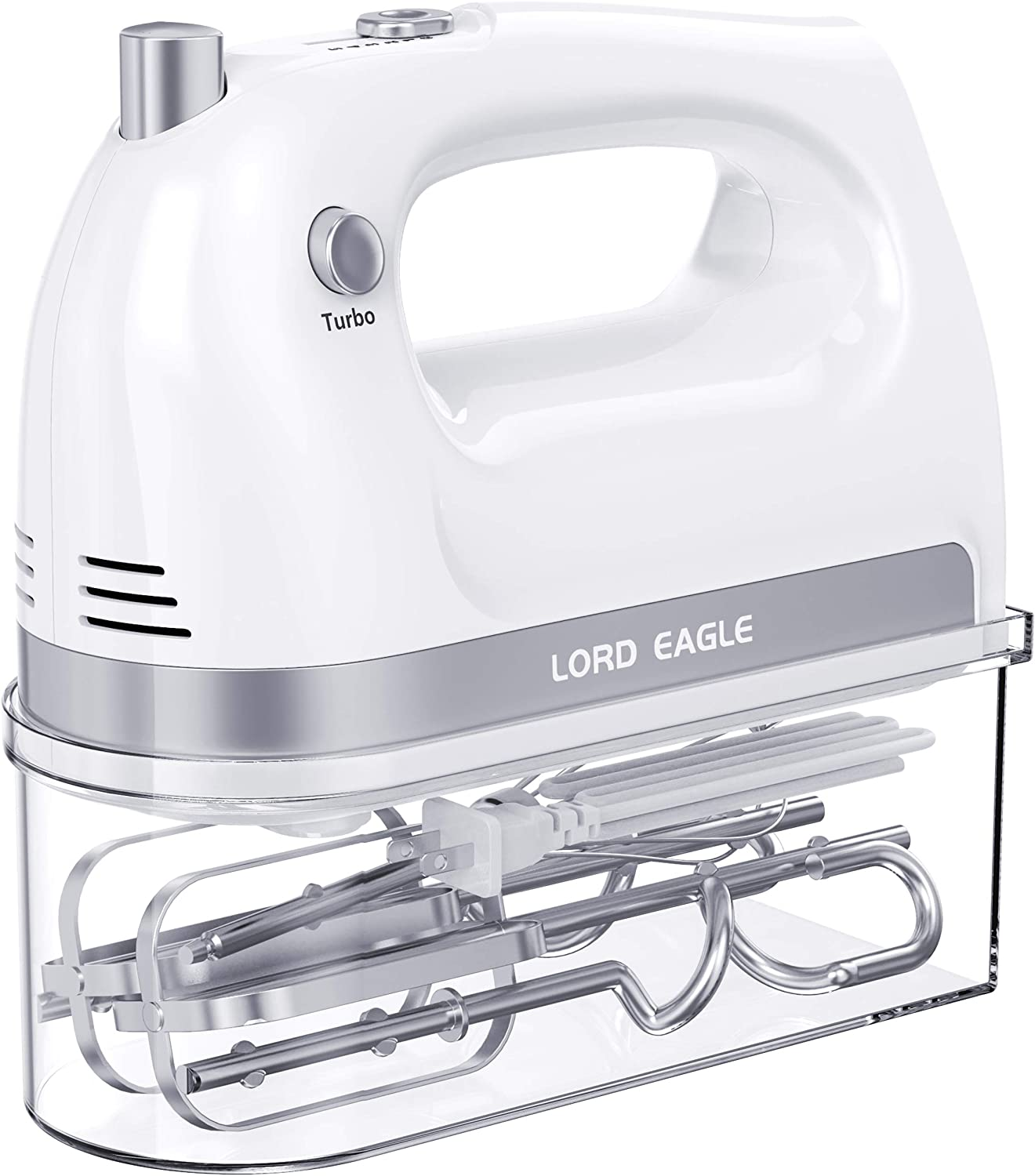 Lord Eagle Hand Mixer Electric, 400W Power handheld Mixer for Baking Cake Egg Cream Food Beater, Turbo Boost/Self-Control Speed + 5 Speed + Eject Button + 5 Stainless Steel Accessories (With Box)