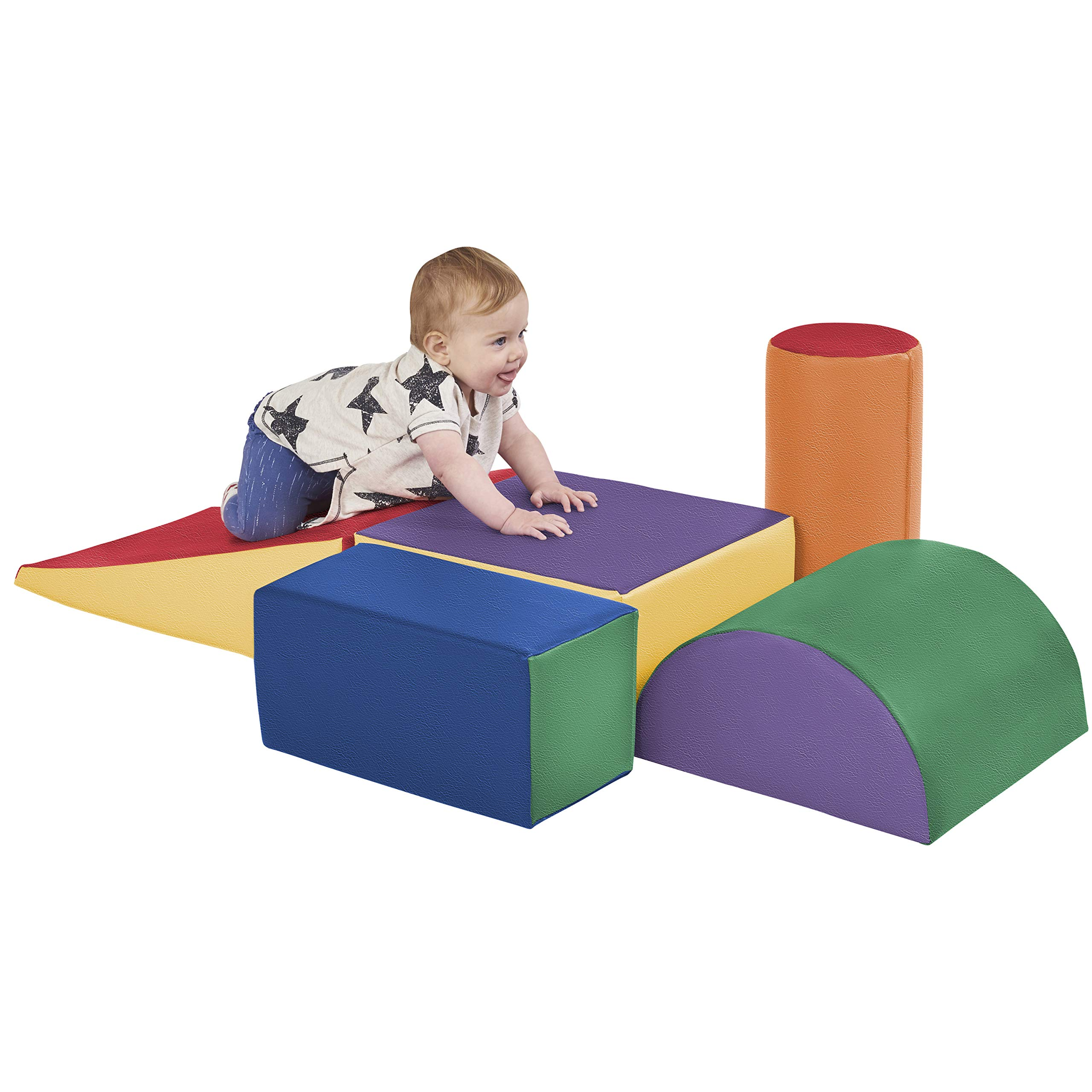 ECR4Kids SoftZone Climb and Crawl Activity Play Set, Lightweight Foam Shapes for Climbing, Crawling and Sliding, Safe Foam Playset for Toddlers and Preschoolers, 5-Piece Set, Primary