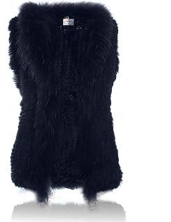 HEIZZI - Chaleco de Piel de Conejo con Cuello de Piel de racón de Punto  Suave f1898c143583