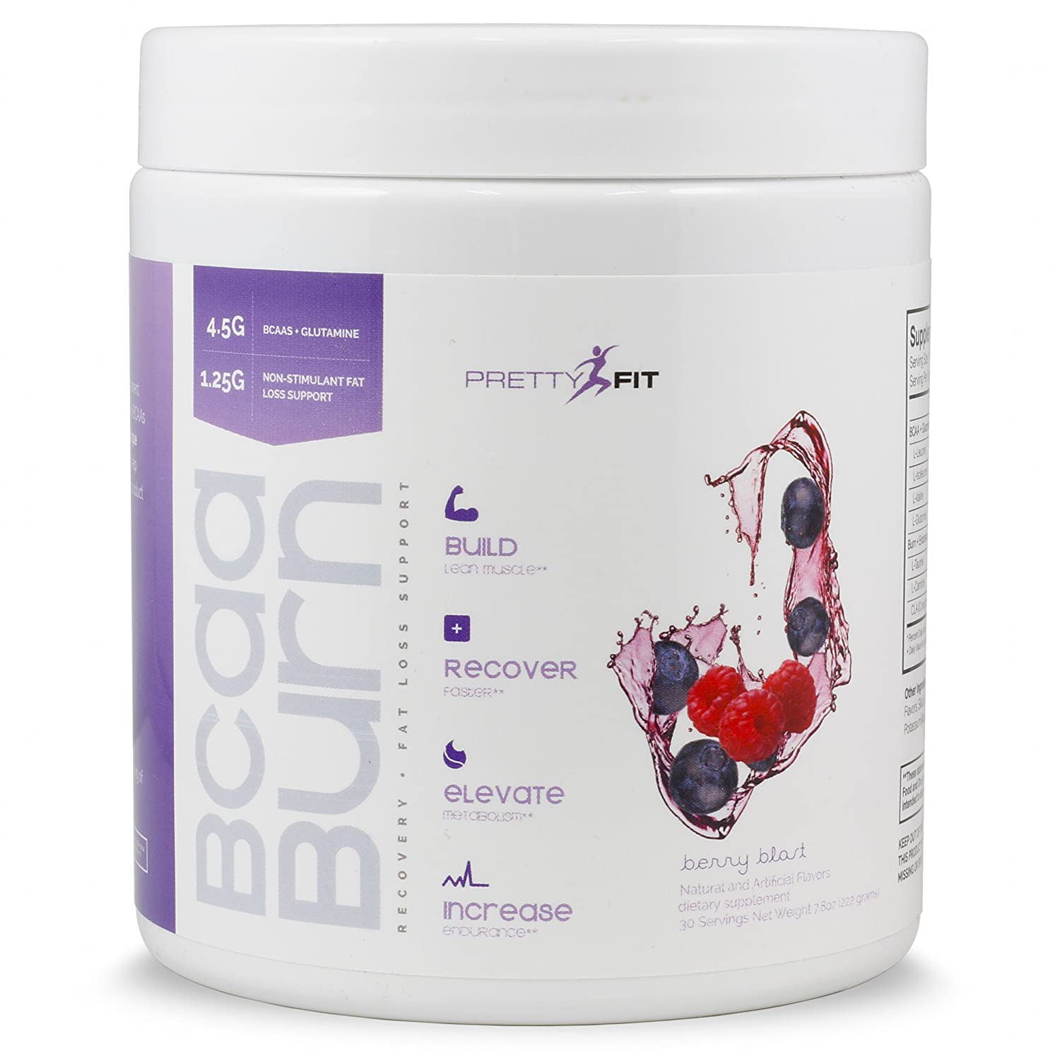 PrettyFit BCAA Burn – 30 Servings – Berry Blast – BCAAs for Women – Build Lean Muscle with BCAAs, Glutamine, and Non-Stimulant Fat Burners – 0 Calories, 0 Sugars, 0 Carbs