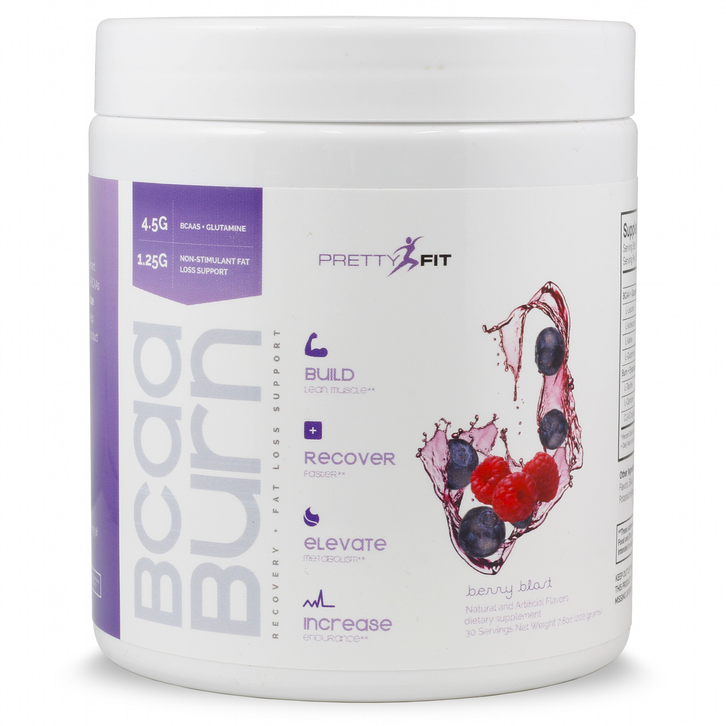 PrettyFit BCAA Burn - 30 Servings - Berry Blast - BCAAs for Women - Build Lean Muscle with BCAAs, Glutamine, and Non-Stimulant Fat Burners - 0 Calories, 0 Sugars, 0 Carbs