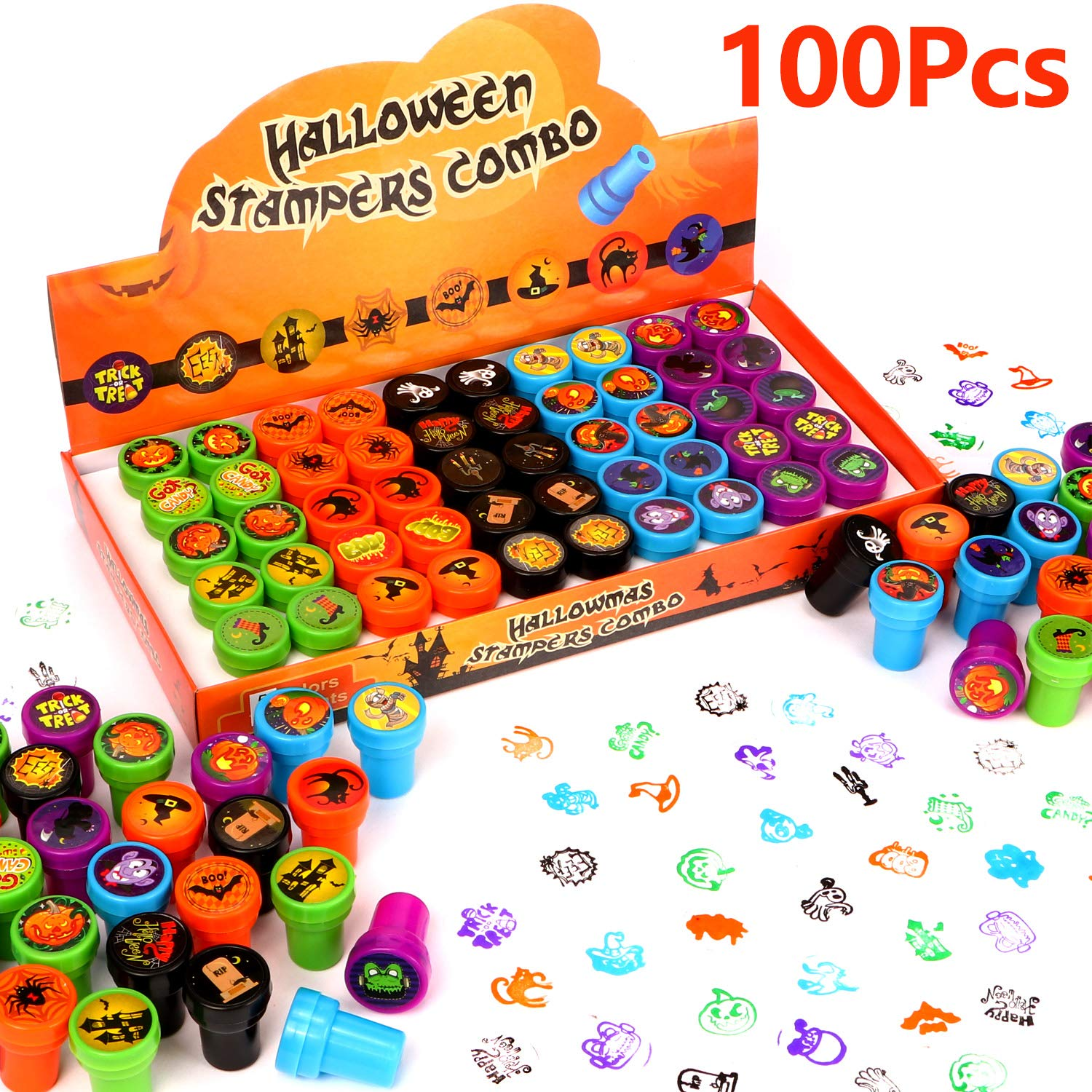 100 Pcs Halloween Assorted Stamps Kids Self-Ink Stamps for Kids Party Favors for Halloween Party Favors, Game Prizes, Halloween Goodies Bags
