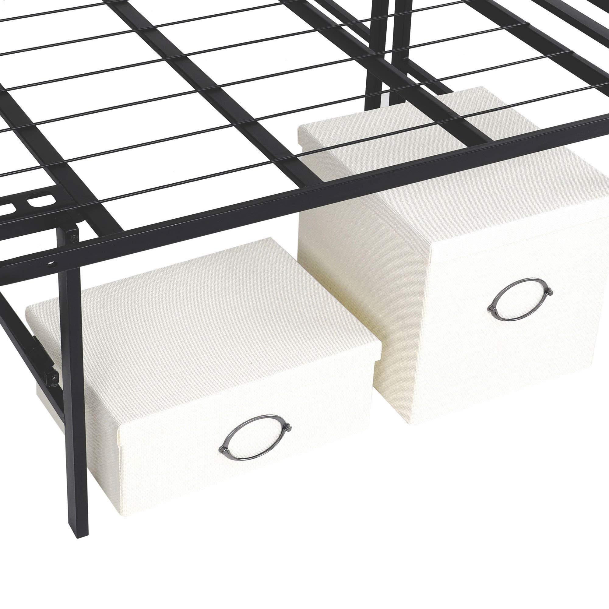 intelliBASE Lightweight Easy Set Up Bifold Platform Black Metal Bed Frame, Queen