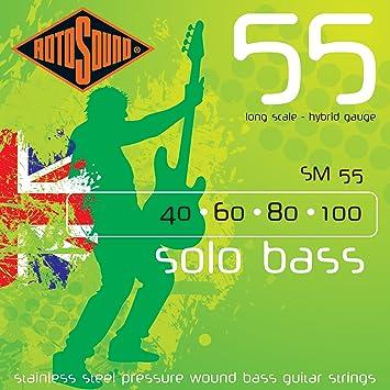 Rotosound SM55 - Juego de cuerdas para bajo eléctrico de acero inoxidable, 40 60 80 100: Amazon.es: Instrumentos musicales