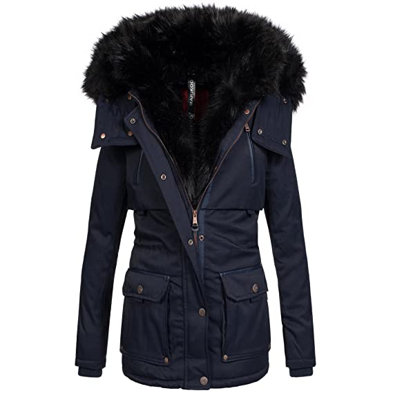 Marikoo warme Damen Winter Jacke Parka Winterjacke Mantel Fell Kragen B393