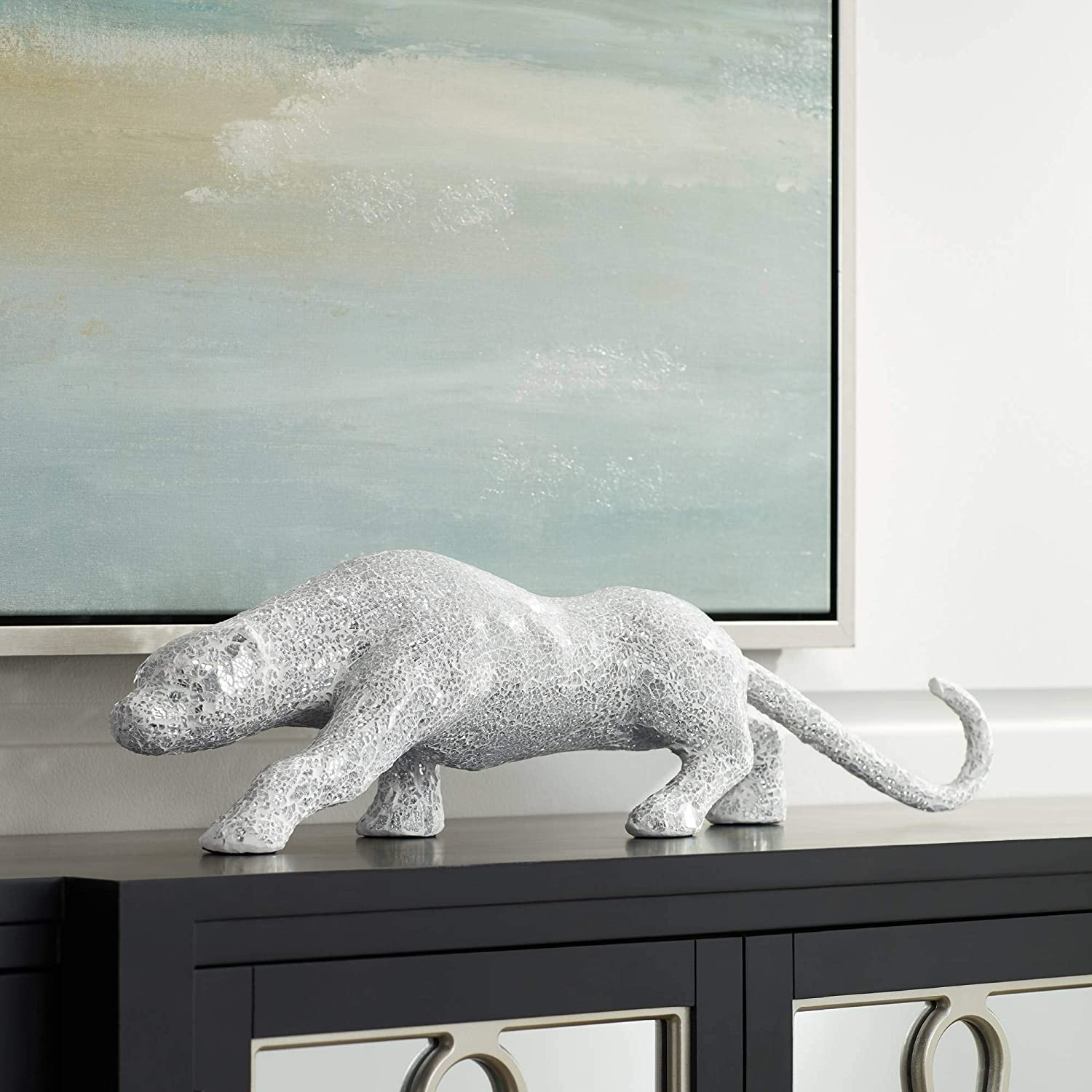 "Studio 55D Glass Mosaic and Silver 29 1/4"" Wide Panther Sculpture"