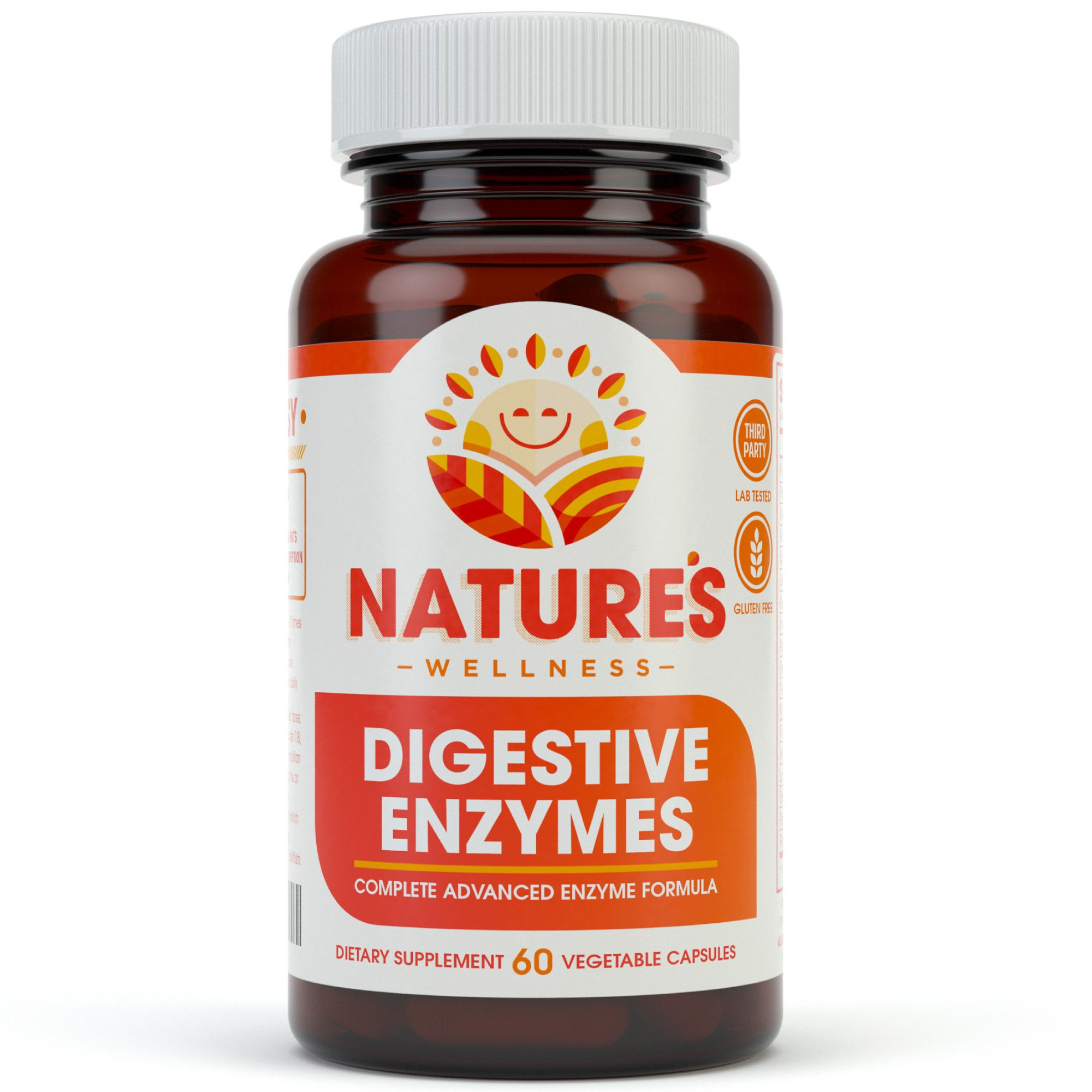 Digestive Enzymes Complete - Advanced Multi Enzyme Supplement for Better Digestion & Absorption. Help Gas Relief, Discomfort, Bloating, IBS, Gluten & Lactose Intolerance by Natures Wellness (Image #1)