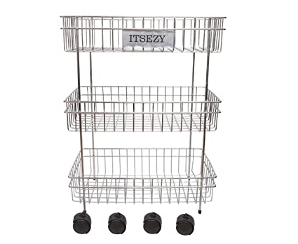 Itsezy Fruit and Vegetable Trolley Stainless Steel 3 Tier with Wheels