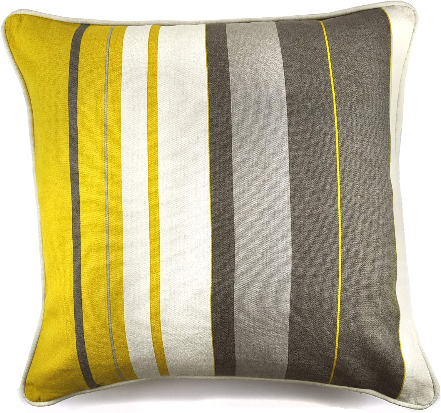 """FILLED VERTICAL STRIPE YELLOW GREY BEIGE PIPED 17/"""" 43CM CUSHION"""