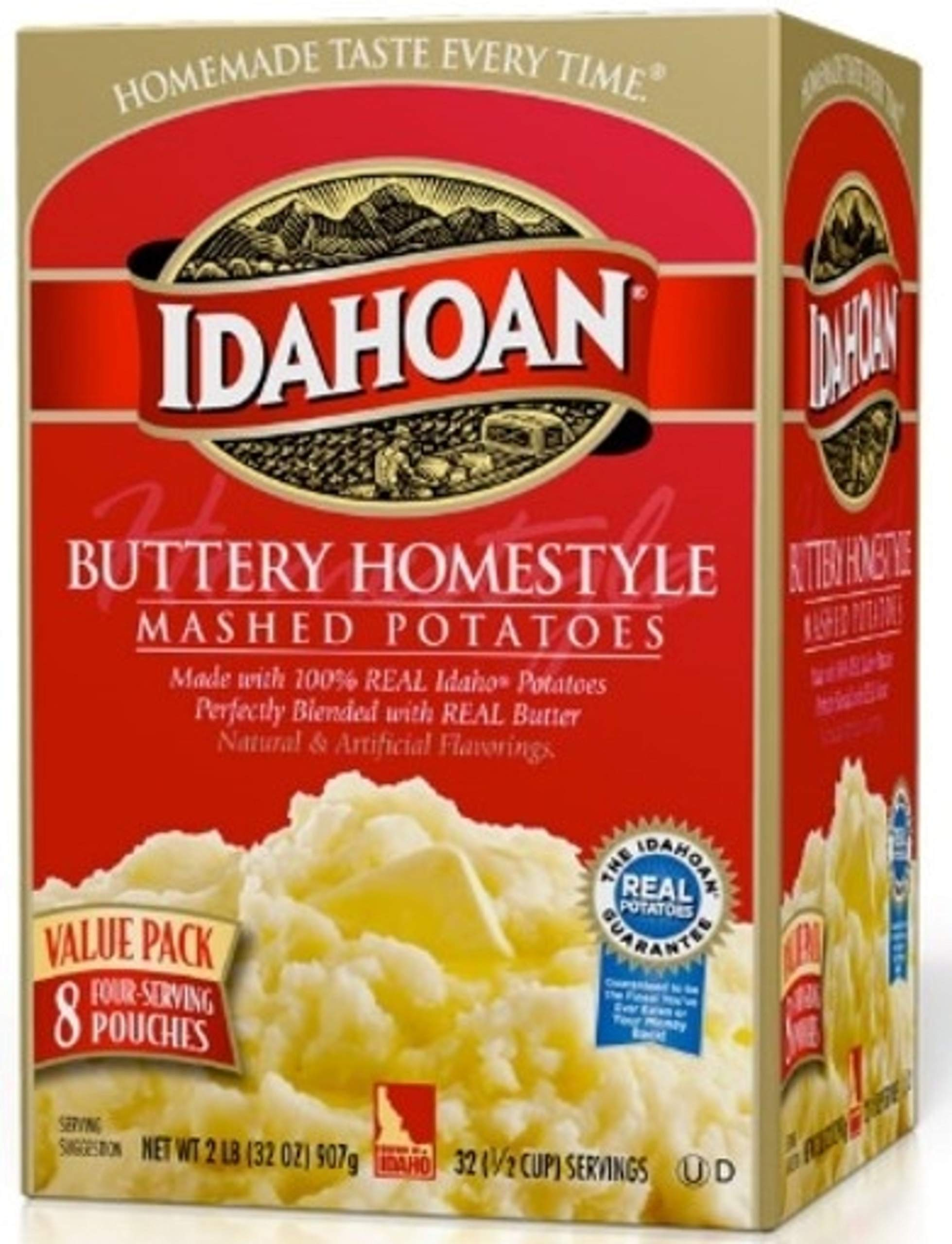 Idahoan Buttery Homestyle Mashed Potatoes, Made with Naturally Gluten-Free 100% Real Idaho Potatoes, 8 Count (4 Servings Each)