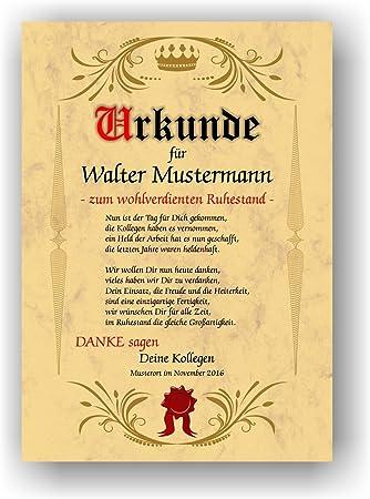 Personalisiertes Wandbild//Urkunde Ruhestand//Geschenk Rente//Abschied Ruhestand//Spruch Rente//DIN A4 ohne Bilderrahmen