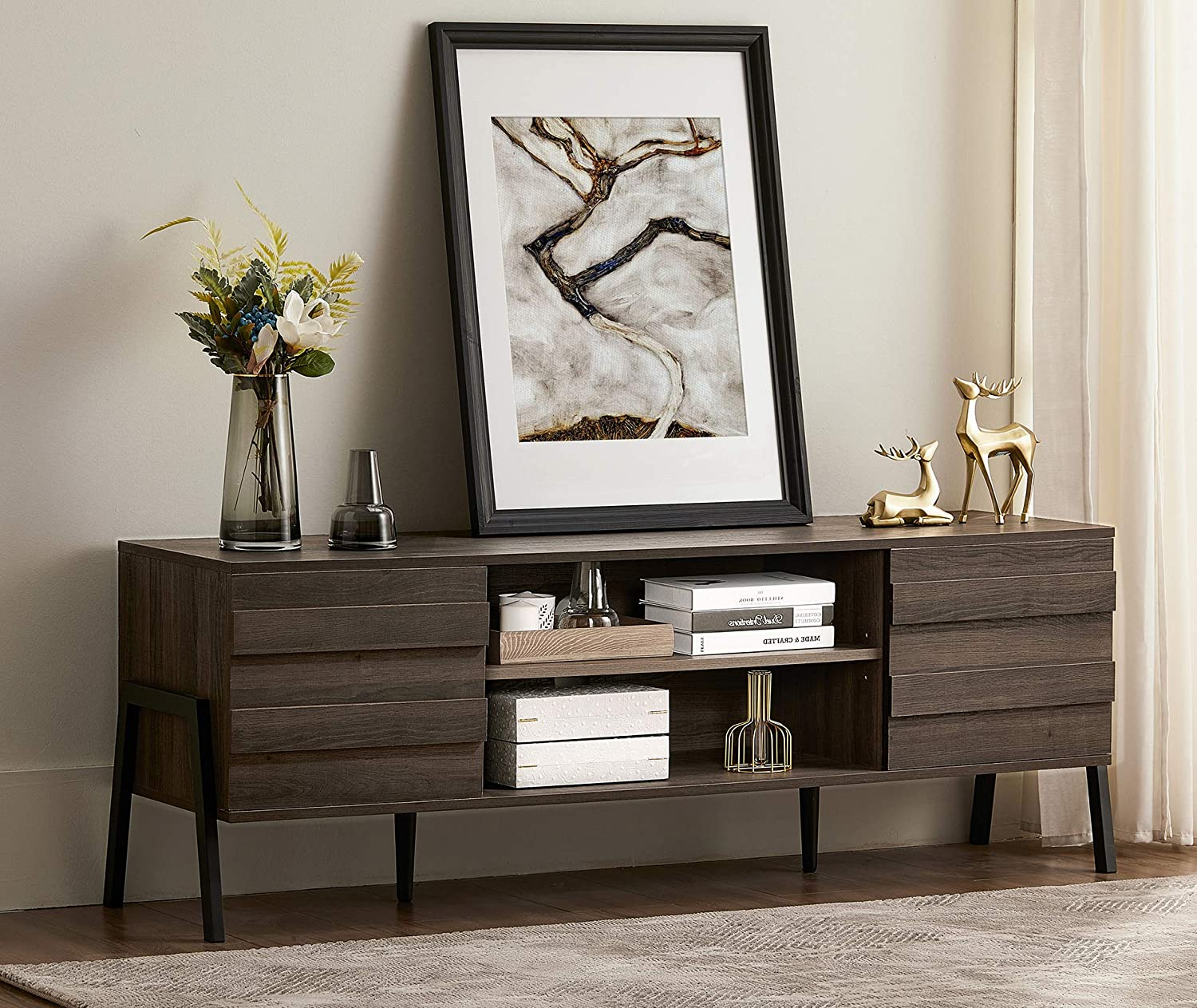 WAMPAT Mid-Century Modern TV Stand for TVs up to 65 inch Flat Screen Wood TV Console Media Cabinet with Storage, Home Entertainment Center Living Room Bedroom and Office