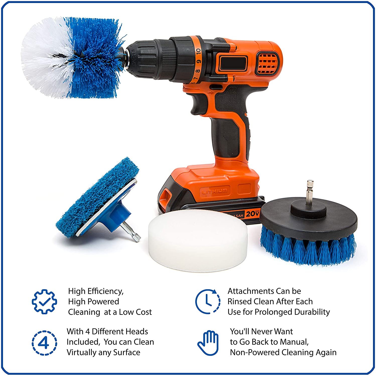 """1-4X 2/""""3.5/""""4/""""5/"""" Electric Drill Brush Round Disc Rotary Cleaning For Carpet Glass"""
