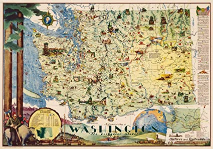Amazon.com: Historic Map   Pictorial Map of Washington, The ...