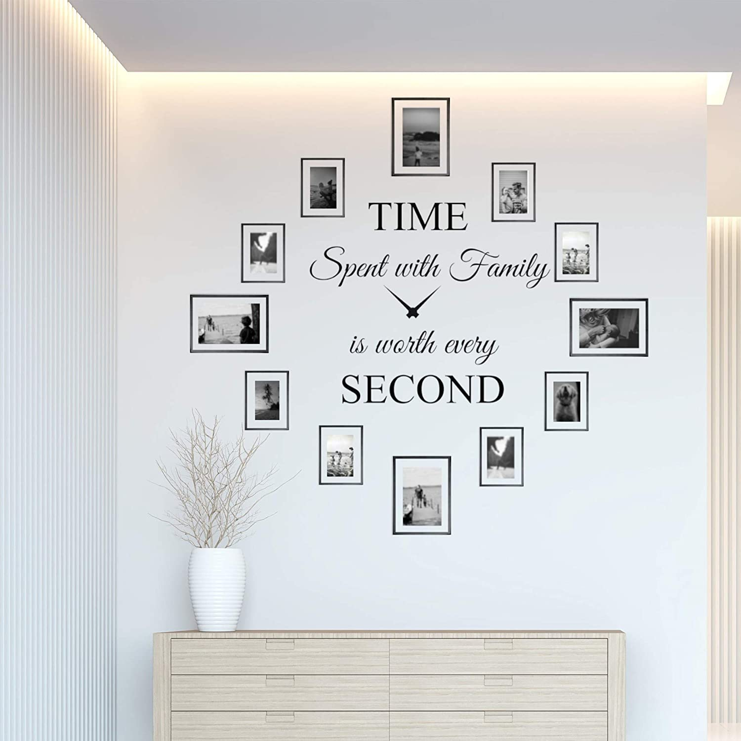 Time Spent with Family is Worth Every Second Wall Decor Clock Family Quote Saying Sticker Vinyl Wall Decal Wall Art DIY Living Room Dining Room The Photo Frames not Included (22Wx22L) Matte Black)