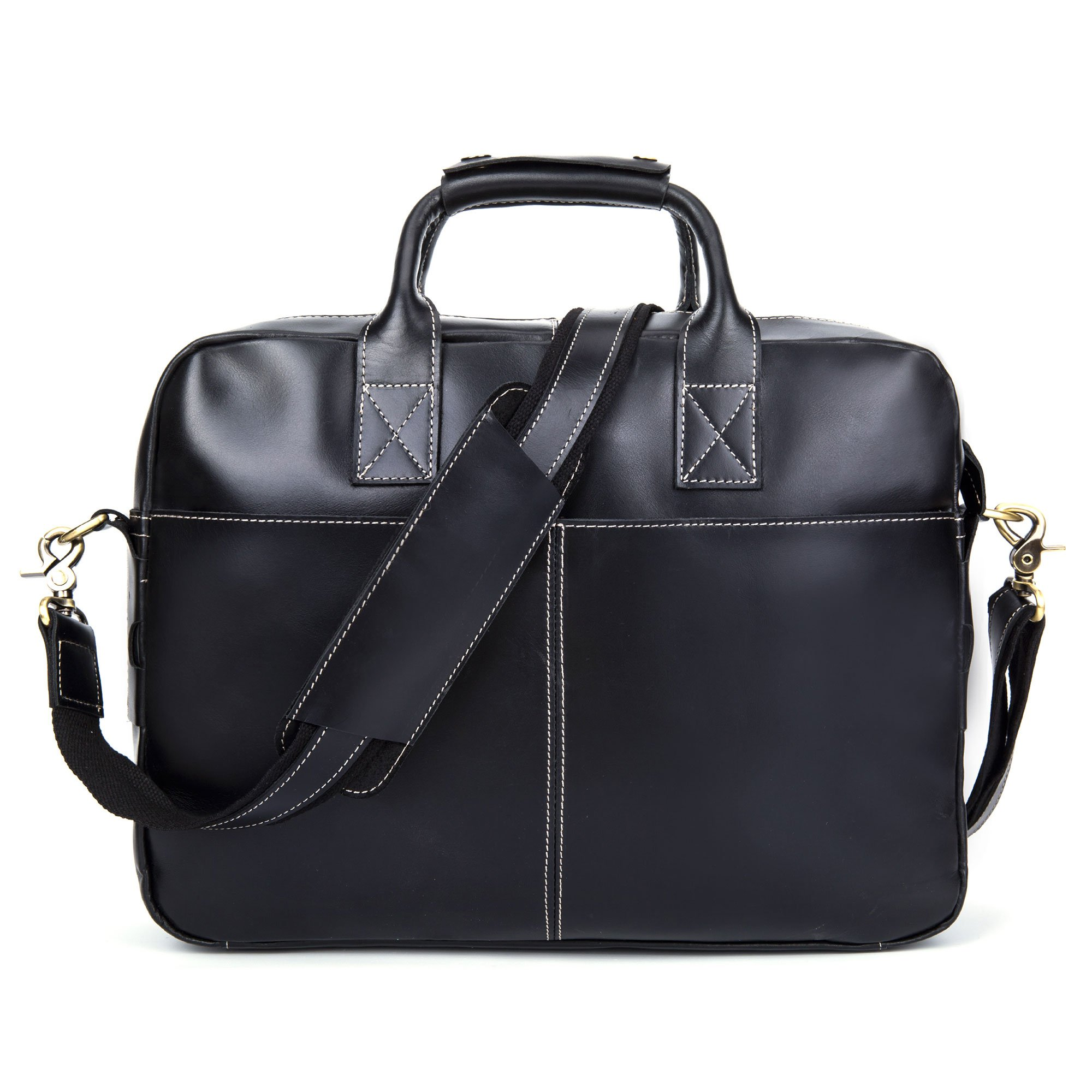 Baigio Genuine Leather Men's Business Briefcase Messenger Tote Bag Fit 15.6'' Laptop