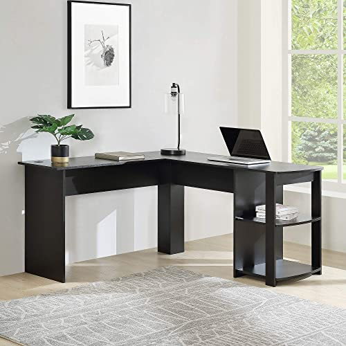 Merax L-Shapped Desk Office/Storage Shelf/PC Table Workstation Writing Table/Maximize Office Space Black