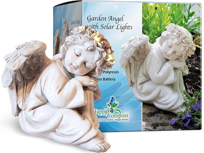 HAPPY COMPOST 1 Angel Solar Light Garden Statues 6