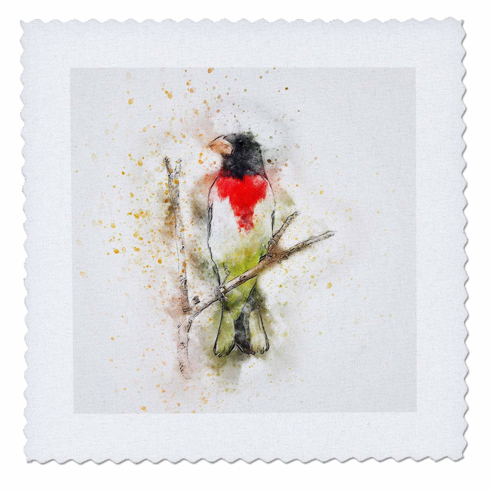 3dRose Sven Herkenrath Animal - Funny Watercolor Background with Bird Animal - 20x20 inch quilt square (qs_280250_8)