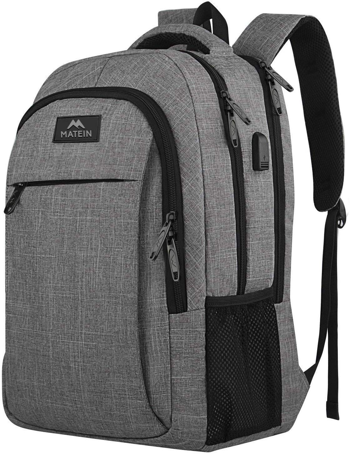Travel Laptop Backpack,Business Anti Theft Slim Durable Laptops Backpack with USB Charging Port,Water Resistant College School Computer Bag for Women Men Fits 15.6 Inch Laptop and Notebook, Grey