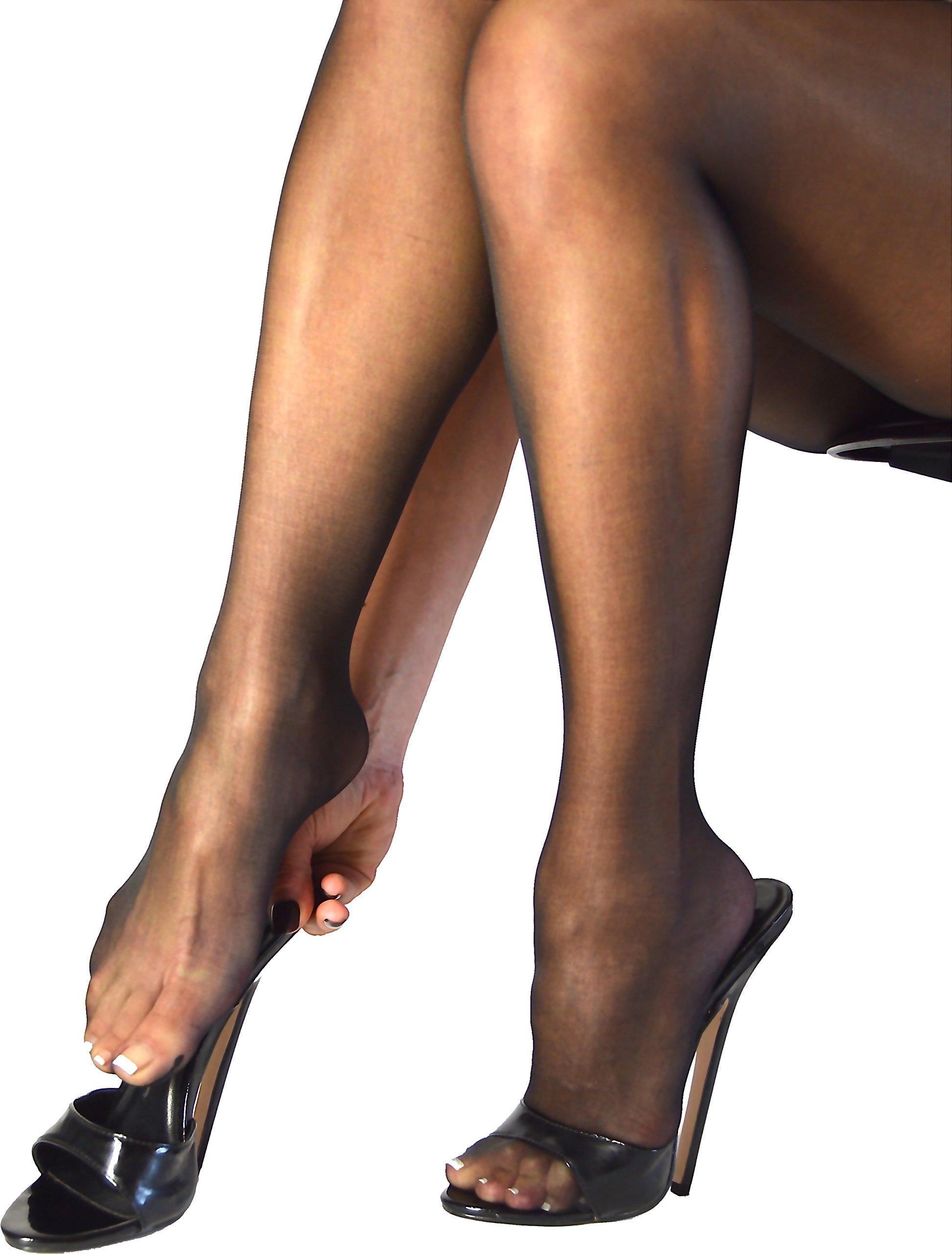 Sphynx - Open Gusset Wet Look Pantyhose sheer transparent sandal foot (Black)