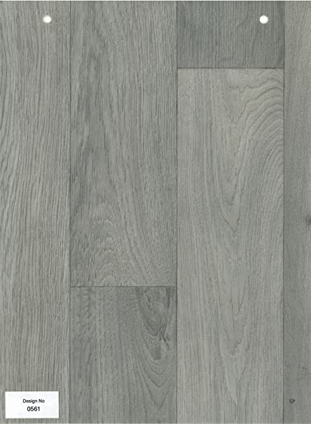 0561 Grey Wood Effect Anti Slip Vinyl Flooring Home Office Kitchen