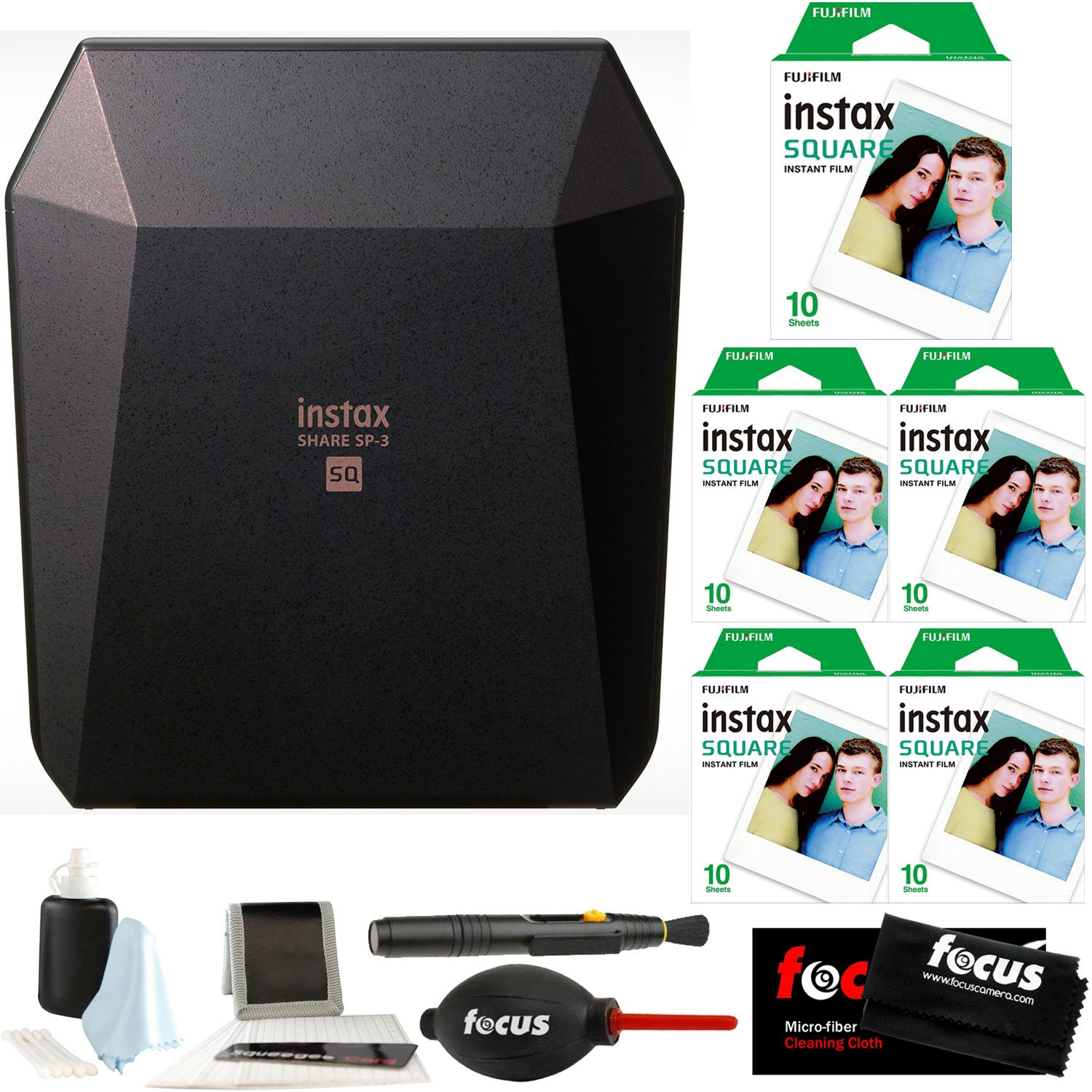 Fujifilm Instax Share SP-3 Smartphone Printer (Black) w/ SQ10 Film Pack Bundle