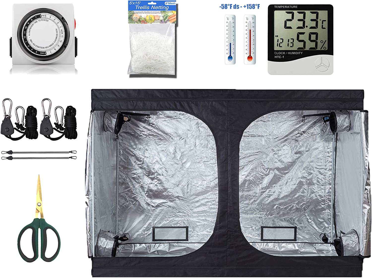 GreenHouser High Reflective Grow Tent Room 24 Hours Timer Hangers Temperature Humidity Bonsai Shears Netting Trellis for Hydroponics Indoor Planting System 120 x60 x80 Grow Tent Combo