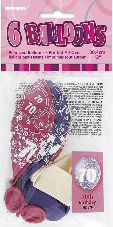 Unique Party Paquete de 6 Globos de látex de 70 cumpleaños, Color Rosa Brillante, 30 cm (80879): Amazon.es: Juguetes y juegos