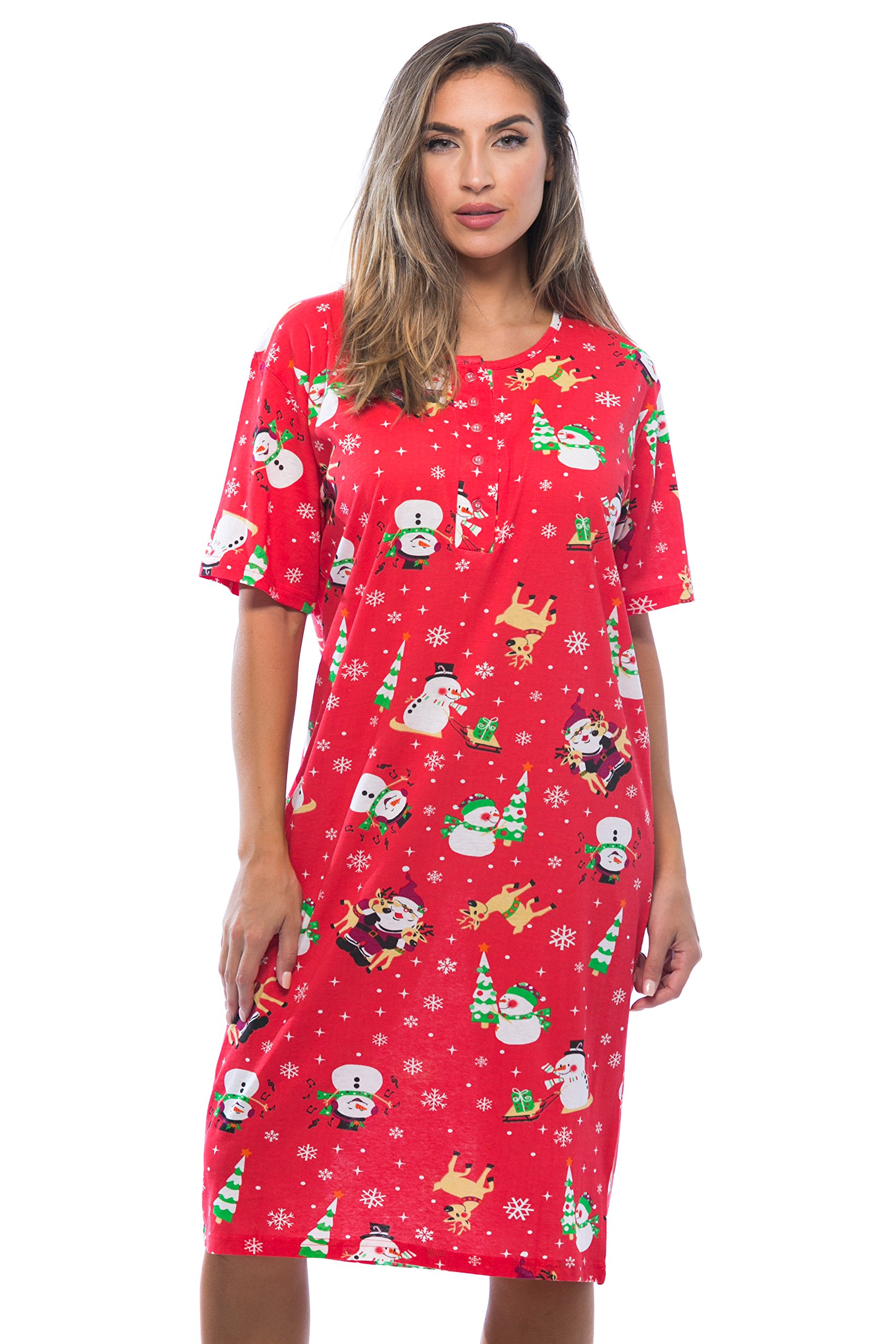 Plus Size Womens Short Sleeve Cotton Nightgown Sleep Dress ...