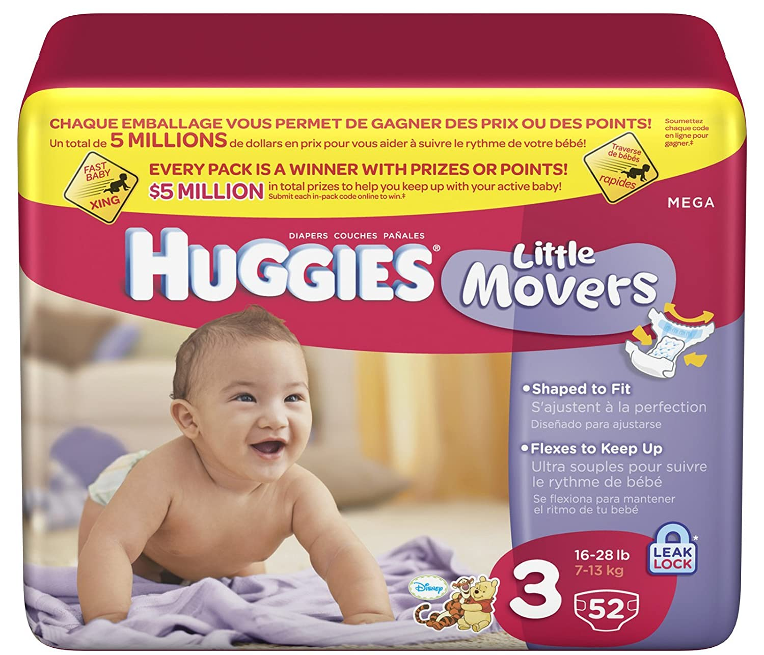 Amazon.com: Huggies Little Movers Original Diapers - Size 3 - 52 ct: Health & Personal Care