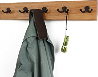 "product image for Solid Cherry Wall Mounted Coat Rack with Oil Rubbed Aged Bronze Coat Hooks - Double Style Wall Hooks - 4.5"" Utra Wide Rail – Made in The USA - (Cherry Stain - 4.5"" x 25.5"" - 5 Hooks)"