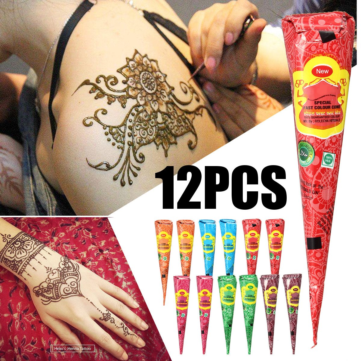Body Paint, Luckyfine Corpo Colori Set 12 Pezzi Inchiostro Per Body Art Per Tatuaggio Temporaneo a Base Di Erbe Multicolori
