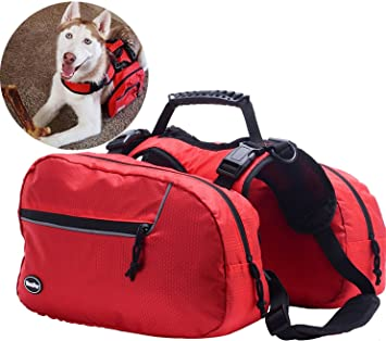 Amazon.com : BINGPET Adjustable Dog Backpack for Hiking Camping Travel Pack Outdoor Accessory Saddlebag, Red S : Pet Supplies
