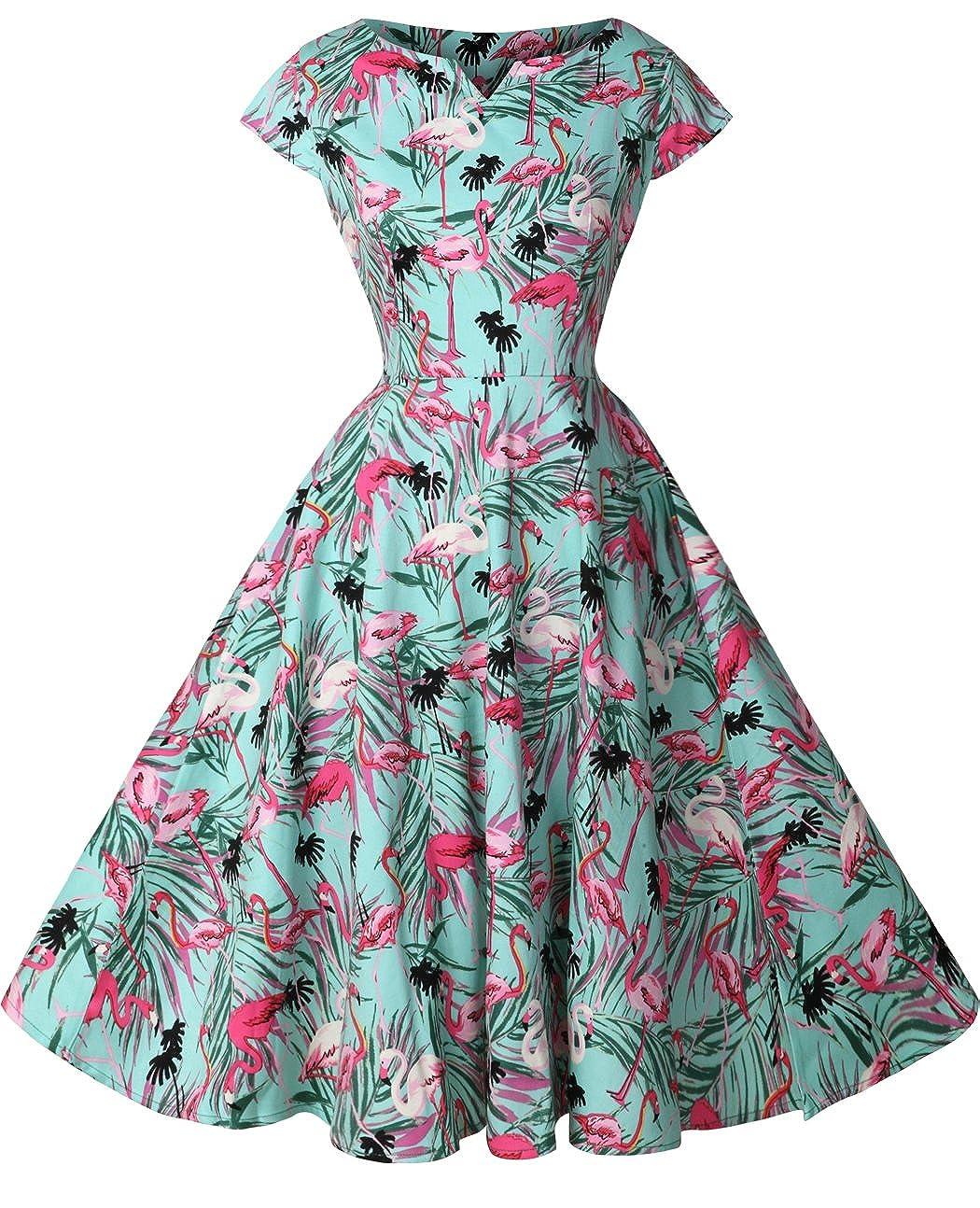TALLA XXL. FAIRY COUPLE 1950S Vintage Rockabilly Lunares Cap Mangas Vestido de Baile DRT019 Verde Flamingo XXL
