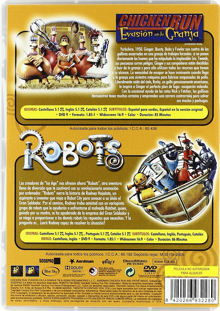 Robots + Chicken Run [DVD]: Amazon.es: Personajes Animados, Nick Park, Peter Lord, Chris Wedge, Carlos Saldanha, Jerry Davis, John C. Donkin: Cine y Series ...
